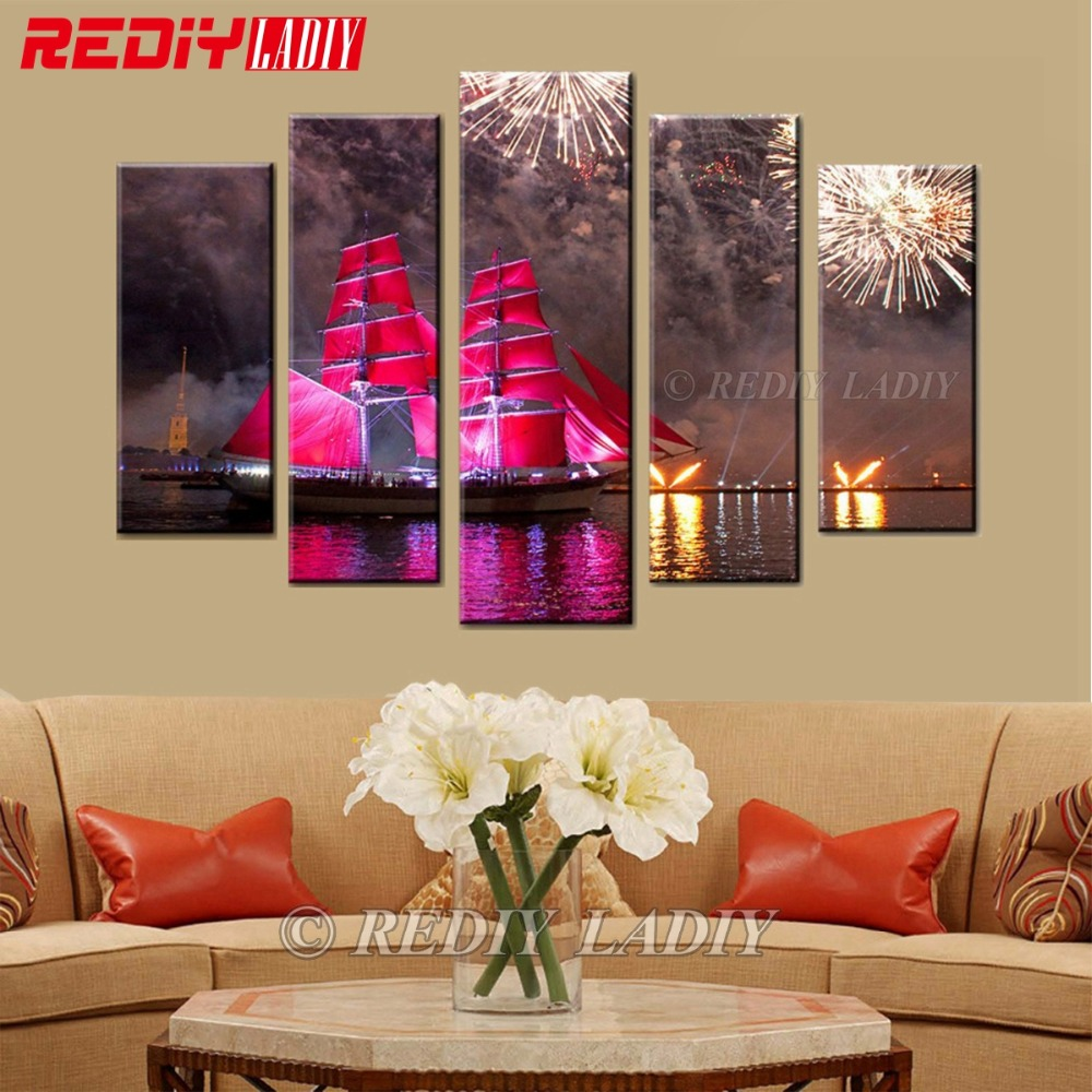 DIY 5D Diamond Painting Red Sailing Boat Embroidery Cross Stitch Home Decor