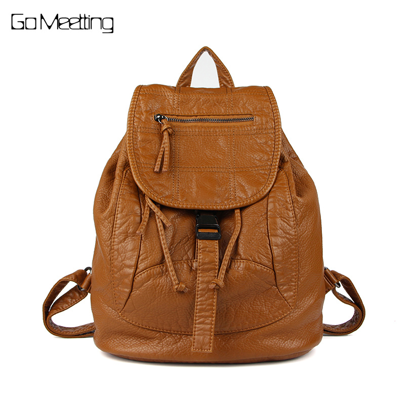Go Meetting Brand Fashion Women Backpacks Soft Washed Leather Bag Schoolbags For Girls Leisure Bag mochilas Travel backpack sitemap 140 xml