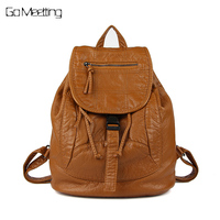 Go Meetting Brand Fashion Women Backpacks Soft Washed Leather Bag Schoolbags For Girls Leisure Bag Mochilas