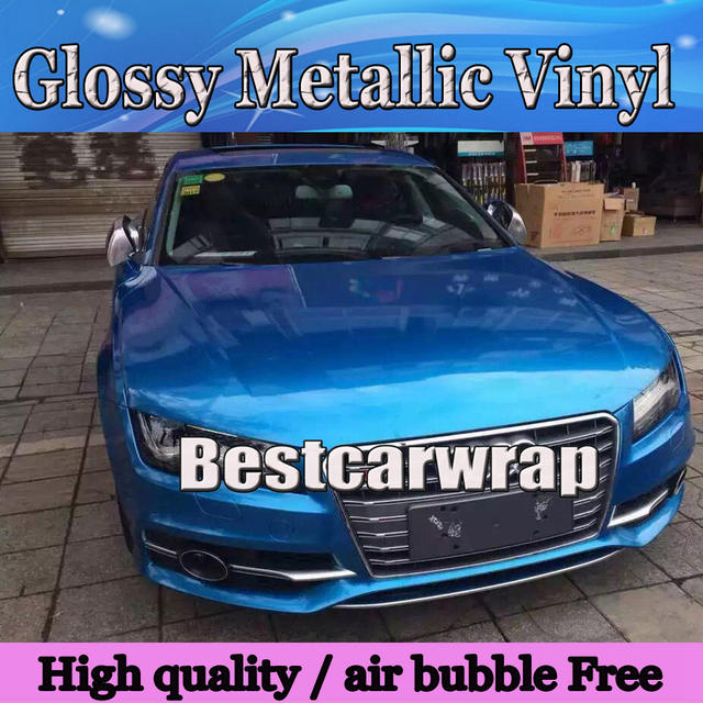 Metallic blue Glossy Vinyl Car wrapping sticker With Air Bubble Free shiny  pearl blue wrap film Vhicle covers  1.52 20M Roll 6290b05d2437