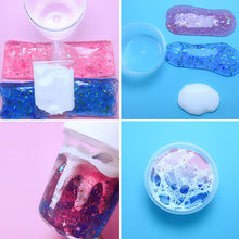 DIY Colorblock Gradient Crystal Mud Multicolor Slime Toys For Kids With colored foam balls Clear Fluffy Clay For children(China)
