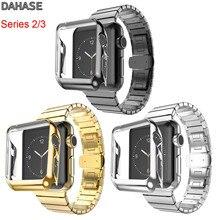 DAHASE 버터 플라이 버클 스테인레스 스틸 링크 팔찌 스트랩 애플 시계 시리즈 3/2 밴드 골드 도금 커버 케이스 42mm 38mm