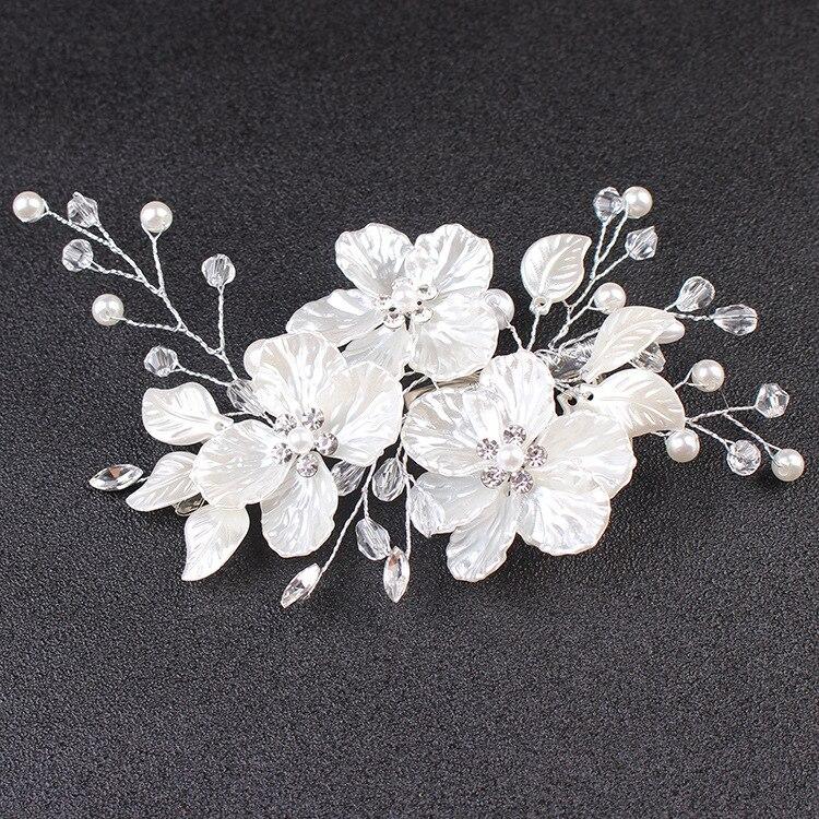 Le Liin mariée cristal perle fleur pince à cheveux Style Floral Barrette mariée cheveux bijoux demoiselle d'honneur mariage cheveux accessoires