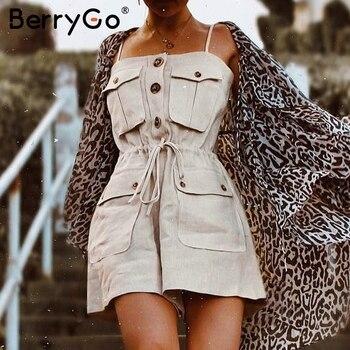 BerryGo strap women jumpsuit  summer rom...