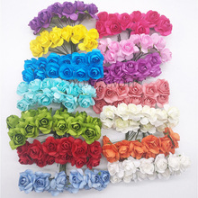 72Pcs/lot 2CM Head Multicolor Paper Artificial Flowers Mini Rose Flower Head Wedding Bouquet Scrapbooking Party Decoration