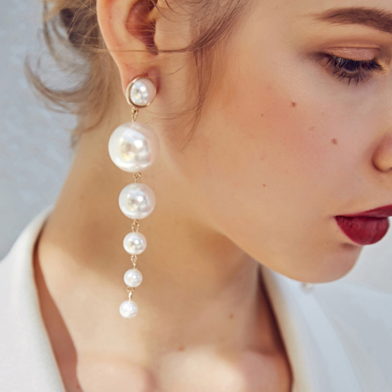 2019 New Trendy Elegant Created Big Simulated Pearl Long Earrings Pearls String Statement Drop Earrings For Wedding Party Gift