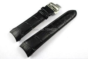 Image 3 - 22/23/24mm Für T035407A T035617A T035627A T035614 Hohe Qualität Schmetterling Schnalle + Echtes Leder curved end armband gürtel