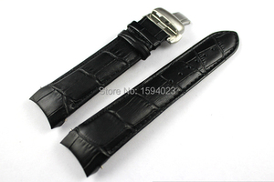 Image 3 - 22/23/24mm For T035407A T035617A T035627A T035614 High Quality Butterfly Buckle + Genuine Leather curved end Watchband belts