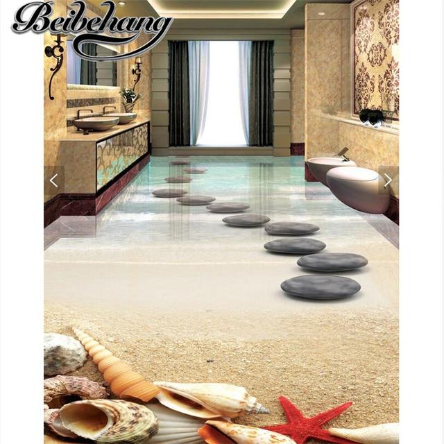 Beibehang Modern Floor Painting HD Beach Shells Stones Waterproof Bathroom Kitchen Balcony PVC Self Wall Sticker