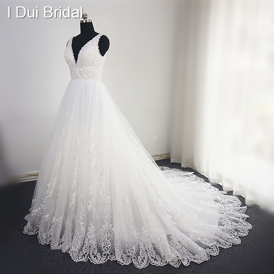 V Neck Lace Beaded Wedding Dress Big A Line Empire High Quality Sequin Lace Bridal Gown