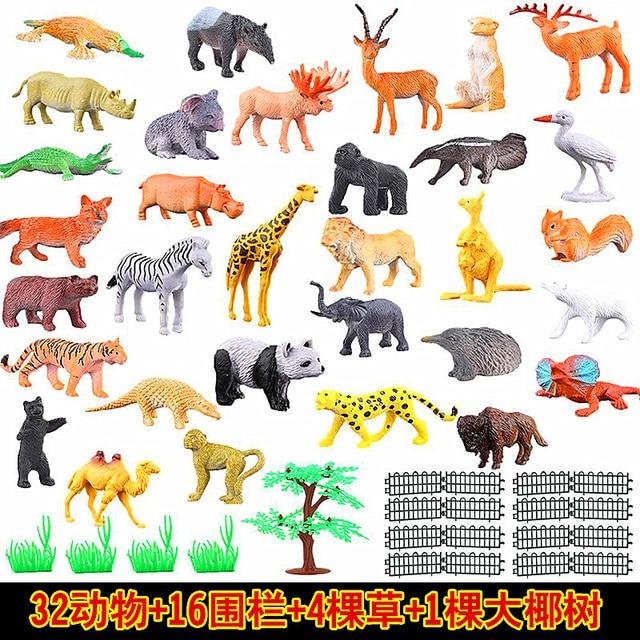 53 teile/satz Mini Tier Welt Zoo Modell Abbildung Aktion Spielzeug Set Cartoon Simulation Tier Schöne Kunststoff Sammlung Spielzeug Für Kinder