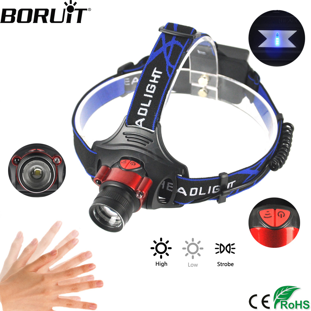 BORUiT 1000LM XML-T6 LED Headlamp Body Motion Sensor Flashlight Zoom 3-Mode Headlight Camping Hunting Head Torch 18650 Battery