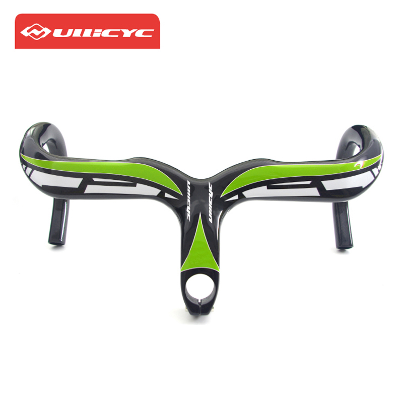 Ullicyc Road Bicycle Carbon Handlebar Intergrated 3K Glossy Cycling Handlebar Stem Full  ...