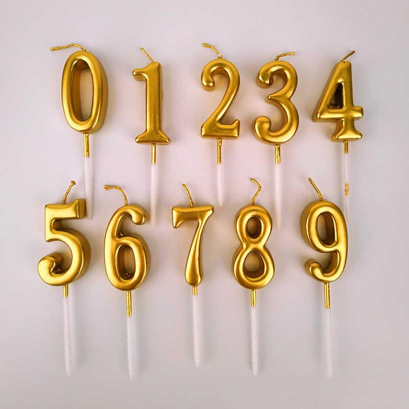 1 peças de Ouro/Prata Mini Número Velas Velas De Aniversário para Crianças Meninas Meninos da Festa de Aniversário Decorações Do Bolo (0 -9)