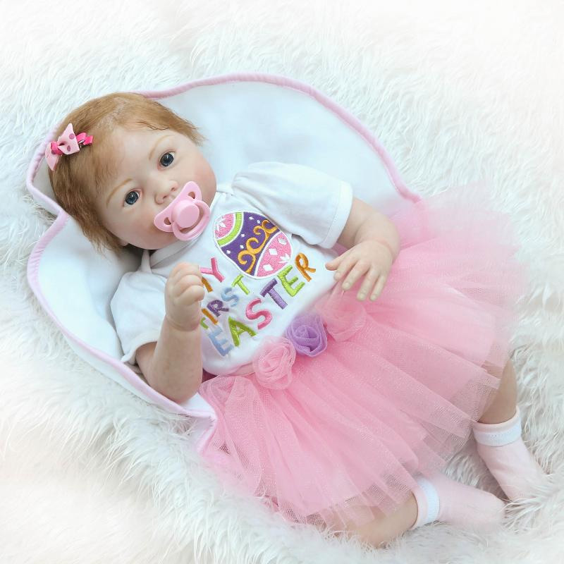 New 22'' baby alive reborn bonecas handmade Lifelike Reborn Babys Doll Girls skirt Body Vinyl Silicone with Pacifier child gift 22 reborn dolls toys half soft silicone body reborn baby cotton body with pacifier bear doll newborn baby bonecas child gift