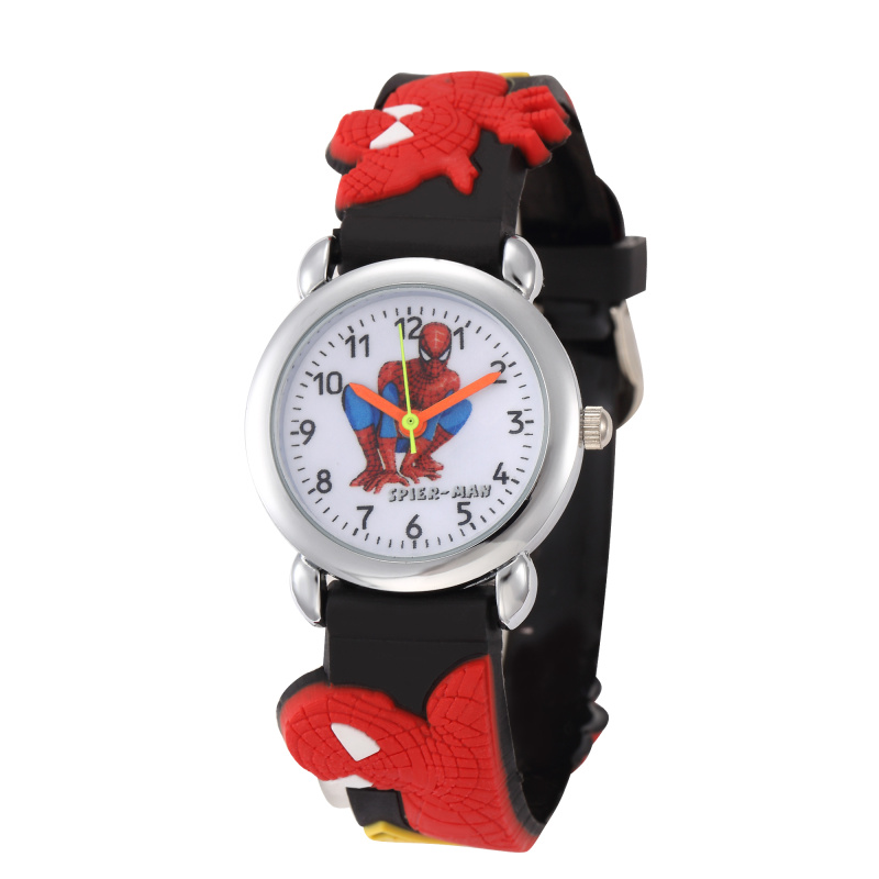 Children Cartoon Super Man Watches 3D Rubber Strap Kids Watch Kitty Quartz Watch Clock Hour Boys Girl Present Gift.