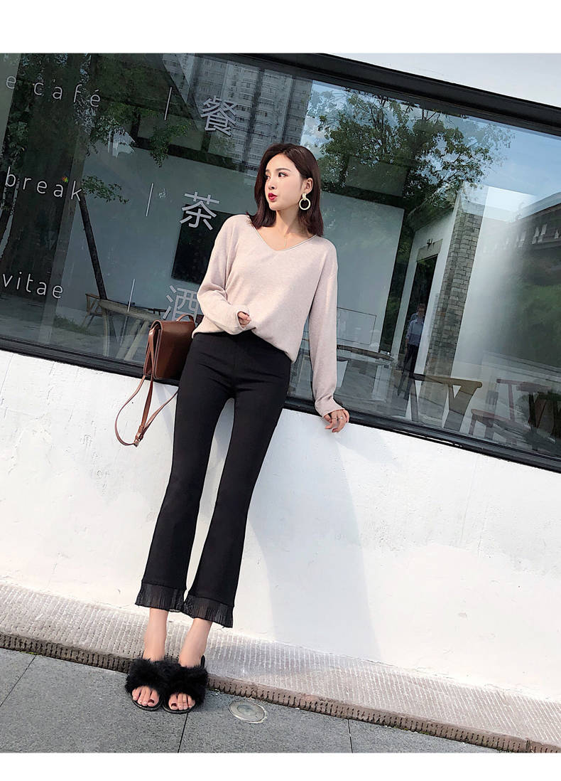 2019 Trousers Women High Waist Bell Bottom Metal Ring Flare Pants Wide Leg Pants Big Plus Size XL Black White Female Capris PP05 37