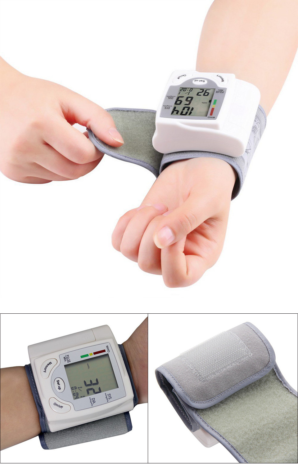 Gustala Automatic Digital Sphygmomanometer Wrist Cuff Arm Blood Pressure Monitor Meter Gauge Measure Portable Bracelet Device 19
