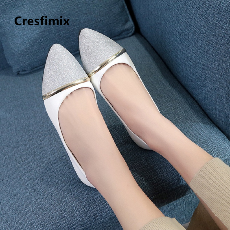 Cresfimix sapatos femininas women fashion silver office flat shoes lady casual comfortable slip on shoes female cool shoes a737 женские блузки и рубашки cool fashion 2015 roupas blusas femininas tcb0024