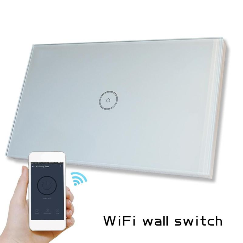 US Standard WiFi Smart Light Wall Switch Waterproof Crystal Glass Touch Screen Panel APP Control for Amazon Alexa Voice Control 2017 free shipping smart wall switch crystal glass panel switch us 2 gang remote control touch switch wall light switch for led