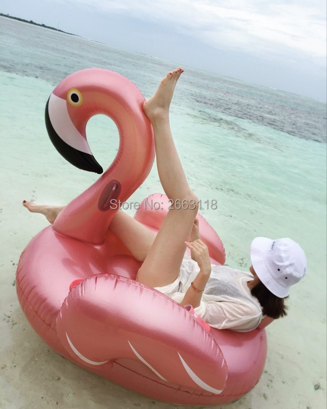 150CM Inflatable Rose Gold Flamingo Pool Float Flamingo Boia Inflatable Swimming Ring Pool Swim Float Pool Party Piscina Boias