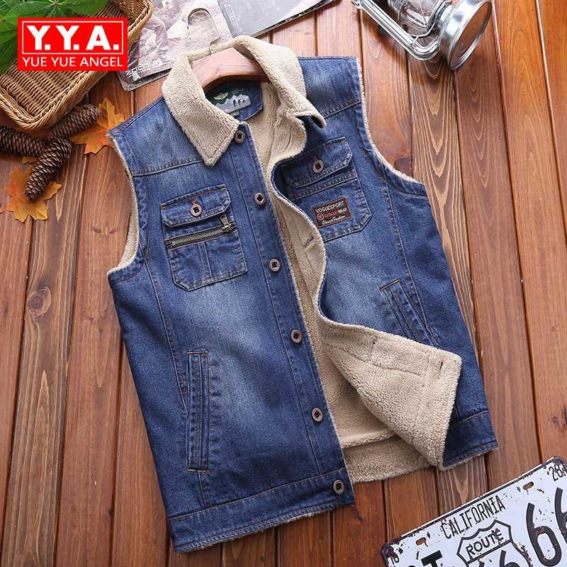 Large Size Winter 2018 Fahsion Mens Jeans Vests Casual Loose Fit Sleeveless Male Waistcoat Streetwear Pockets Mans Warm Vest