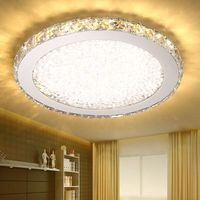 Modern fashion stainless steel led k9 crystal ceiling lights fixture home deco creative restaurant dimming round ceiling lamp