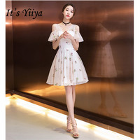 it's YiiYa Cocktail Dress 2019 Elegant Floral Embrodery White Tulle Short Dress Women Party Night Robe Cocktail Plus Size E512