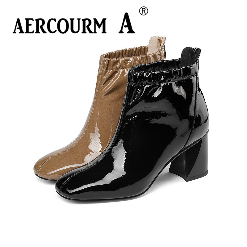 Aercourm A 2019 Women High Heel Boots Black Brown Winter Shoes Short Plush Boots Zip Pleated Solid Color Shoes Ankle Boots Women отпариватель centek ct 2371 голубой