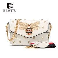 BEWITU Women Shoulder Bag Pearl Decorated Matel Chain Butterfly Bag Retro Women S Crossbody Bags Elegant