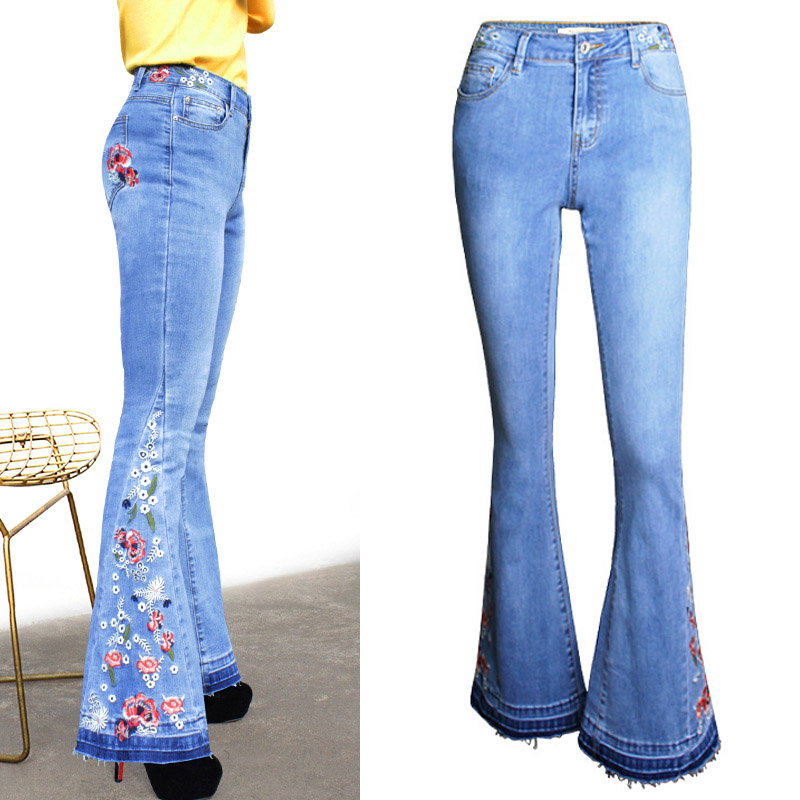 New Arrival Women Flowers Embroidered   Wide     Leg   Lift Hip High Waist Skinny Jeans