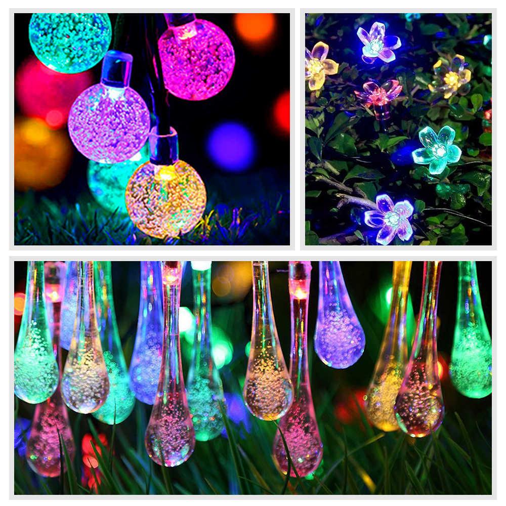 Персиковый Цветок Светодиодный светильник на солнечной батарее Сказочный свет для украшения на открытом воздухе светильники для праздничной вечеринки для сада Рождественская лужайка с деревьями пейзаж