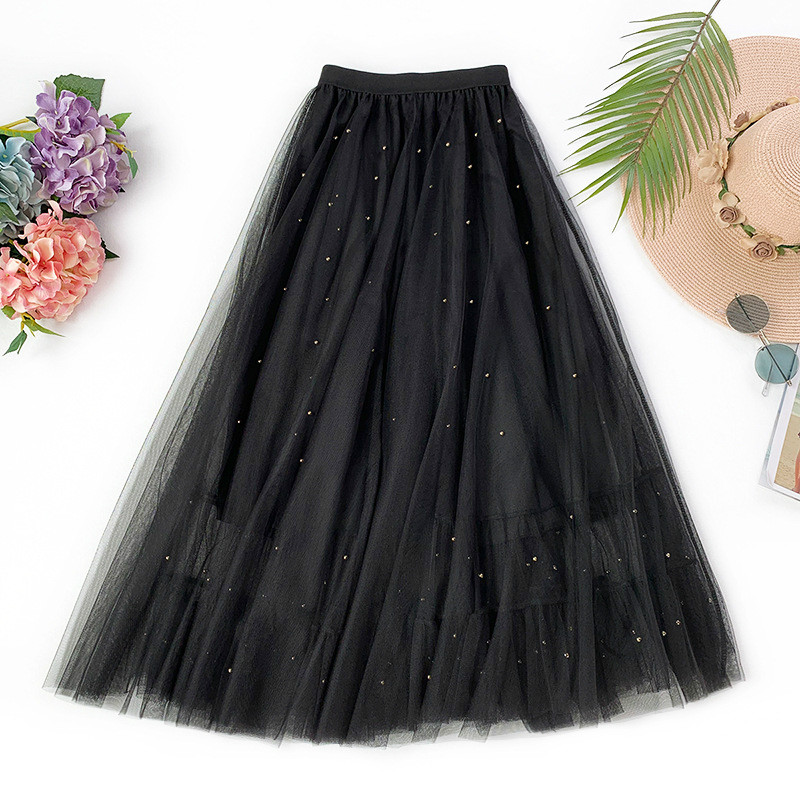 AcFirst Pink Spring Lace Women Skirt Casual Women High Waist Pleated Ankle Length Skirts Mesh Clothing All-match Ball Gown