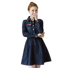 Women Spring Autumn Denim Dress Sexy Turn-down Collar Long Sleeve Pockets Jeans Dresses With Belt Slim Cowboy Dress Vestidos цена