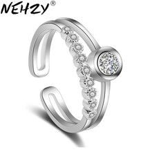 Women's Fashion Extinguishing Ring Zircon Crystal Ornaments Silver Ring Princess Temperament 2017 New Fashion Jewelery