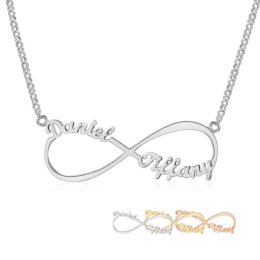 Personalisierte Arabisch Russische Name Halskette Silber 925 Anhänger Halskette Für Frauen Anpassen Brief Unendlichkeit Feine Schmuck (NE101367)