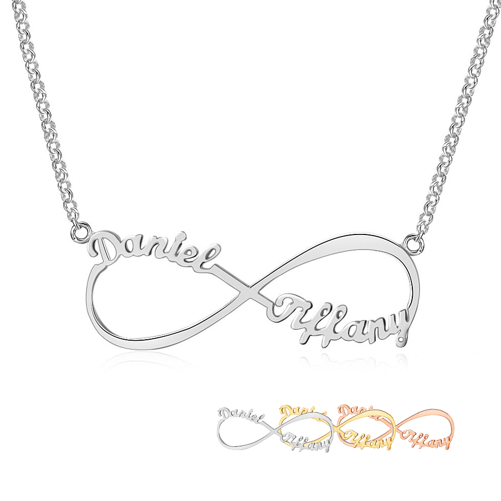 Personalized Arabic Russian Name Necklace Silver 925 Pendant Necklace For Women Customize Letter Infinity Fine Jewelry(NE101367)