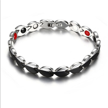 Women Modern  Black Stainless Steel Bracelet Health Therapy Bio Bracelet&Bangle Magnet Germanium Charm Jewelry Accessory Gift