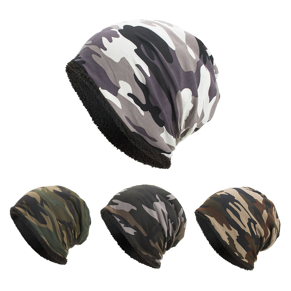 2019 Fashion Women Men Baggy Camouflage Crochet Winter Wool Ski Beanie   Caps   Hat Skull Slouchy   Caps   Army Green Dance 3.11