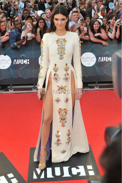 2017 Bling Crystal Red Carpet Dress Sexy O Neck Long Sleeves Split Kendall Jenner Celebrity Dresses Long Evening Party