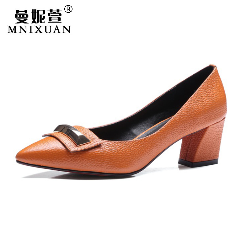 Pumps women shoes genuine leather 2017 elegant new spring high heels pointed toe office ladies block heels big size 41 42 43 spring women red shoes flat pointed toe genuine leather high 2017 new woman shoes high quality casual flats big size 41 42 43