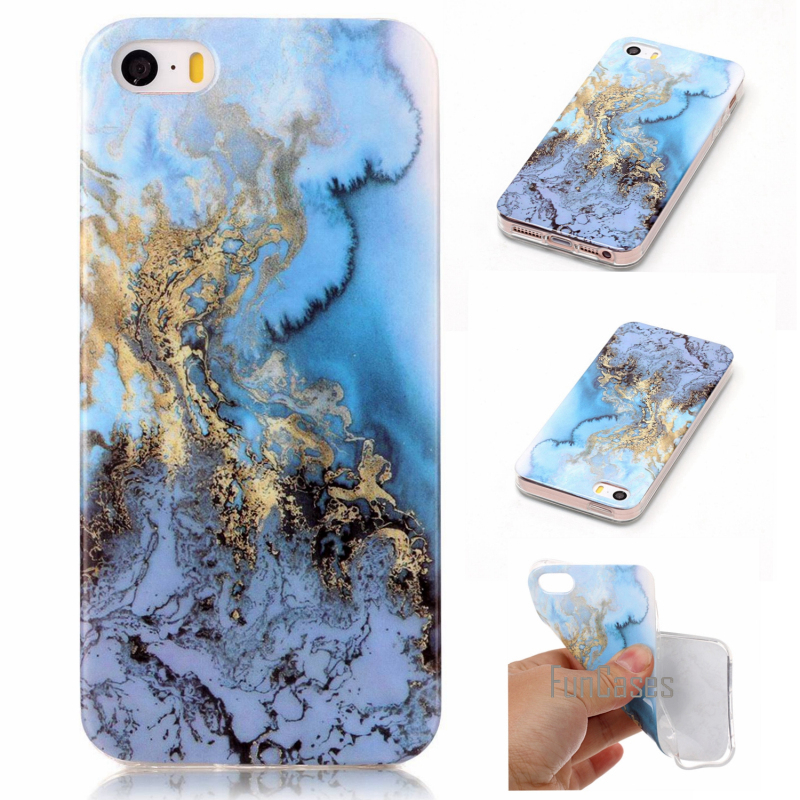 For iphone 5s case silicone For iPhone SE cover Case Marble Stone image Painted Bags & Case For iPhone 5