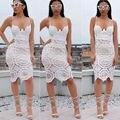 2016 Женщины Выдалбливают Вязание Крючком Кружева Bodycon Платье Знаменитости Стиль Лето Женщины Белый Винтаж Вышивка Цветочные Midi Платье blusas