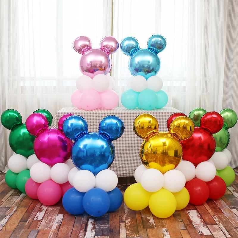 New 12Pcs/Set Cute Mickey Minnie Mouse Balloons Cartoon Head Shape Balloons Series Baby Shower Birthday Party Decoration Supply