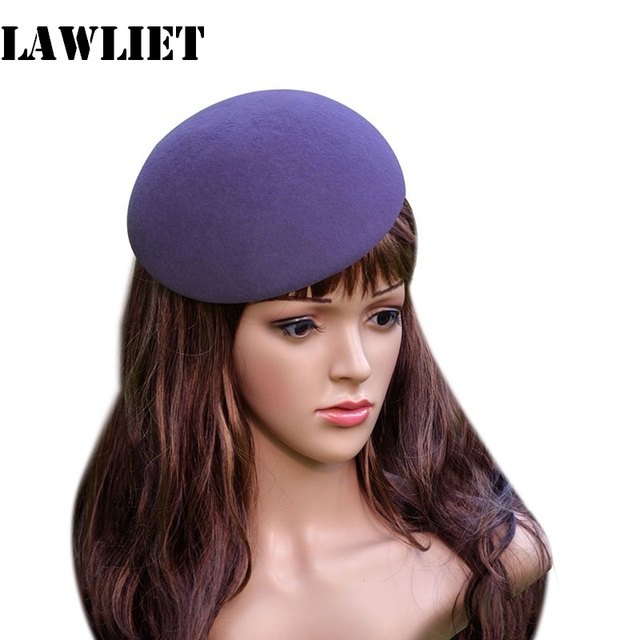 e5a4e304e3e22 A048 Purple Circle Round Wool Felt Bowl Pillbox Hat Millinery TearDrop  Fascinator Base Wedding Cocktail Party