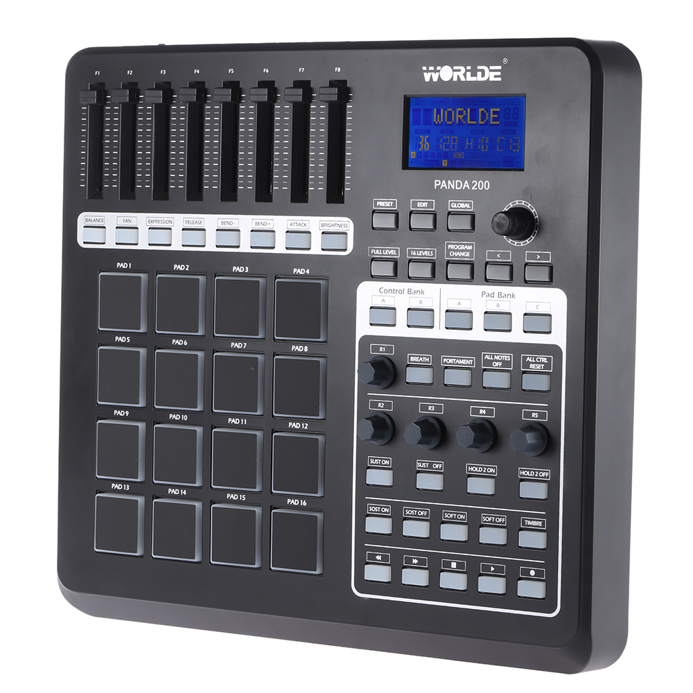 Worlde PANDA200 Portable USB MIDI Controller Keyboard mini MIDI Pad Controller 16 Drum Pads with USB