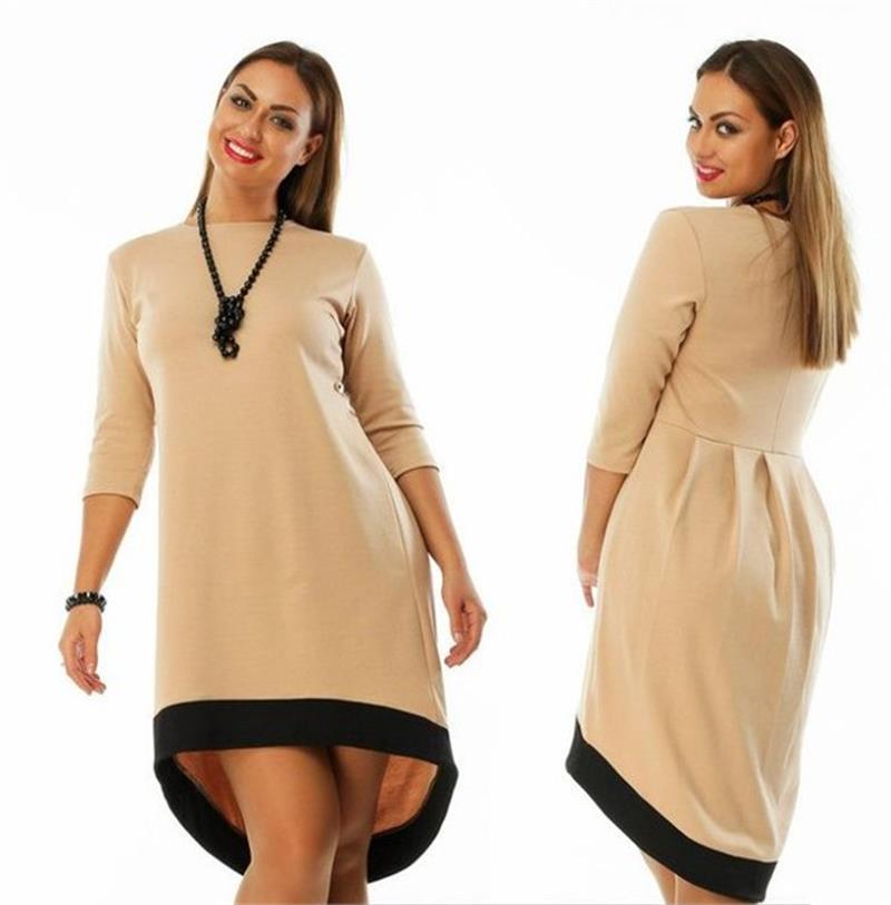 Fashion 2018 Plus Size Women Clothing 6xl Winter Dress O Neck Solid