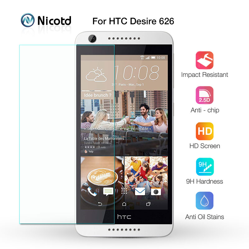 For HTC Desire 626 Dual Sim Screen Protector 2.5D 9H Nicotd Tempered Glass Protective Film On 626s D626W D626n D626d 626G+ 4G