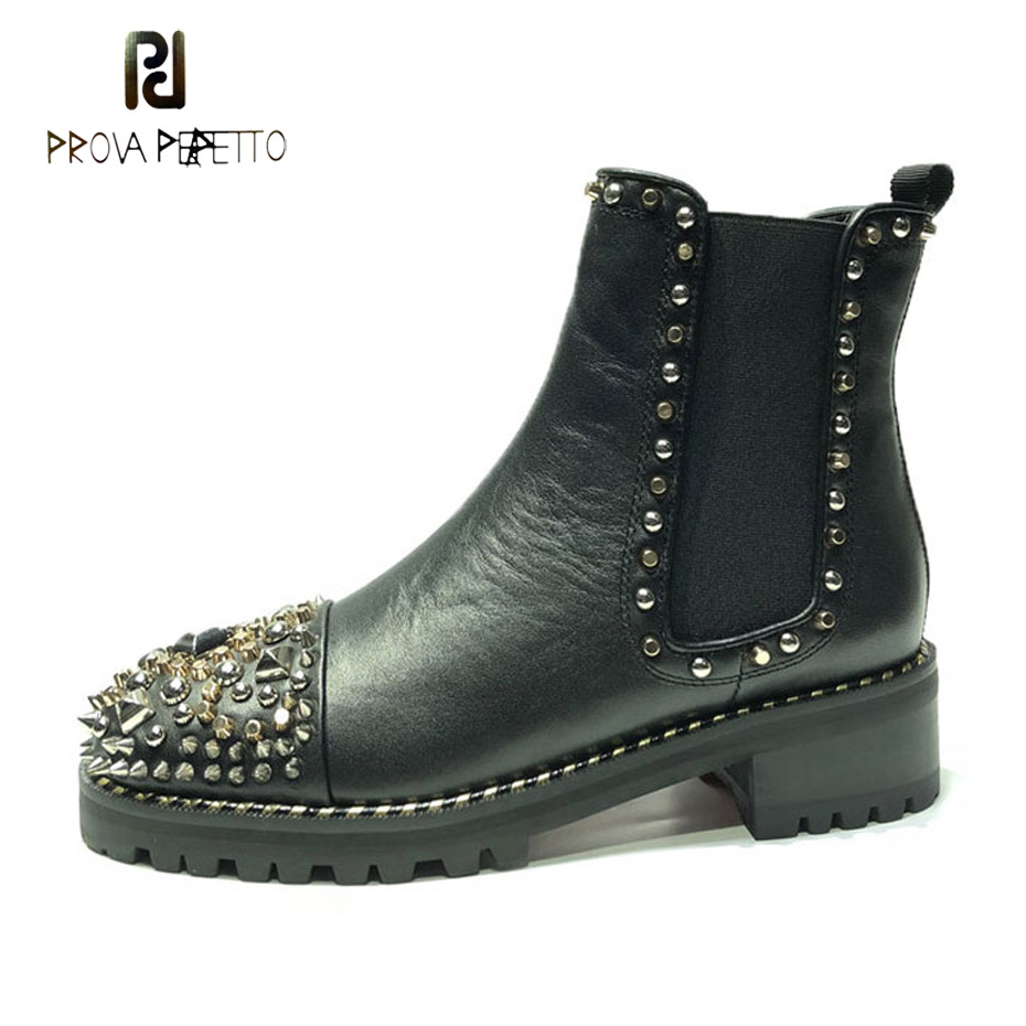 Prova Perfetto 2018 winter new spike rivet round toe motorcycle boots women black genuine leather thick sole martin boots mujer no name ascu