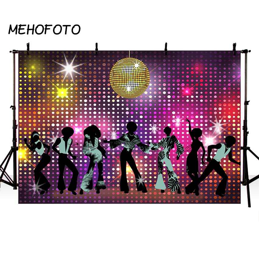 MEHOFOTO Vintage 80s 90s Disco Night Party Backdrop Neon Boogie Dancers Shiny Birthday Background Decorations Photo